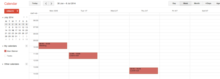 Google Calendar in the browser